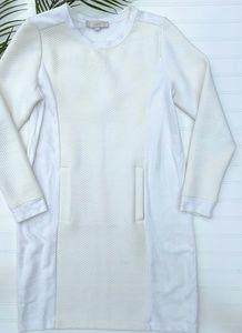 LOFT White Textured Sweatshirt Dress